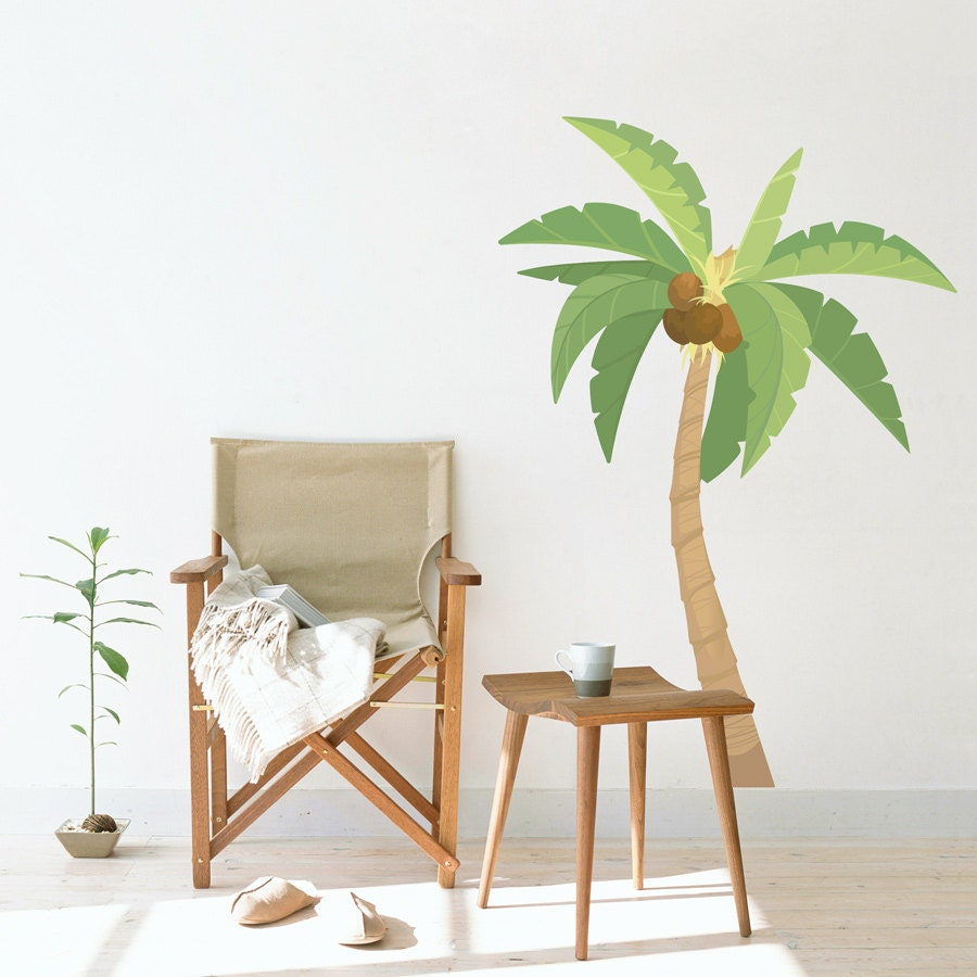 palm tree printed wall decal tropical wall art palm tree. Black Bedroom Furniture Sets. Home Design Ideas