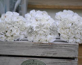 Bridesmaid Rose Brooch Bouquet
