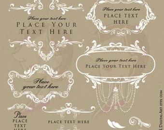 Rococo Floral Frames White Clip Art Diy Wedding Invitation Foliage Border VECTOR Digital Download Chandelier Png File COMMERCIAL USE 10615