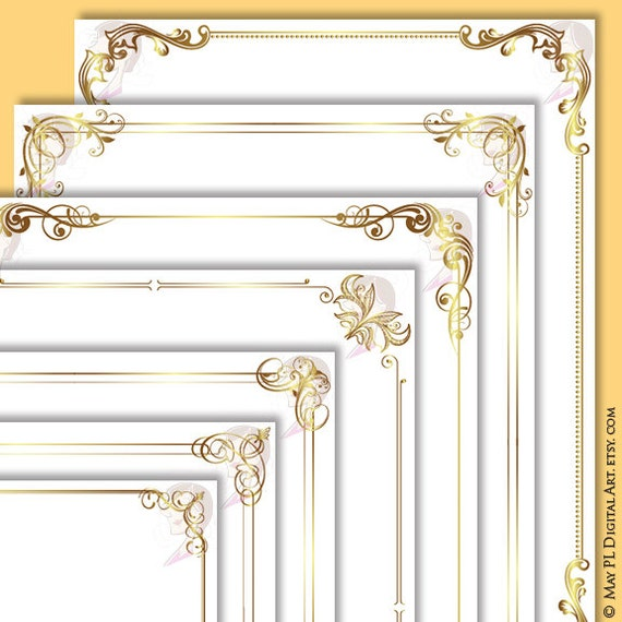 document frames page borders 8x11 gold floral foliage leaf retro wedding clipart award certificate form diploma