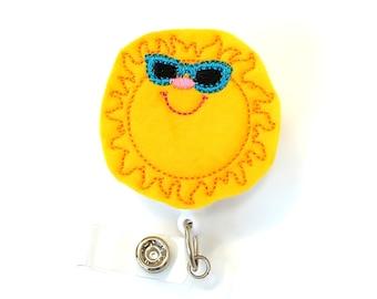 Summer Sun - Name Badge Holder - Cute Badge Reels - Unique Retractable ID Badge Holder - Felt Badge Reel - RN Badge - BadgeBlooms