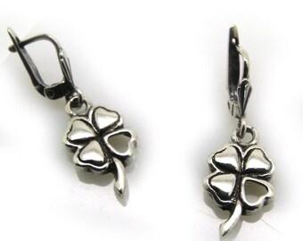 silver clover earrings - ID: 515 - 34221