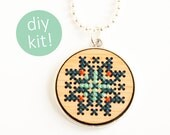 Cross Stitch Jewelry Kit // Hand Stitched Wood Pendant in Silver Frame // DIY Kit