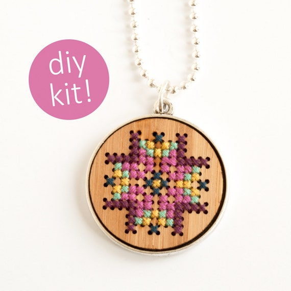 Diy cross stitch jewelry embroidered wood necklace in