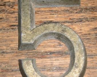 """Vintage Hardware Signage Pewter House Business Sign Number Letter 2 1/4"""" h x 1 1/2"""" w # 5"""