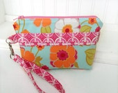 Blue Orange and Pink Floral Wristlet - Pretty Wristlet - Colorful Pouch - Small Floral Clutch