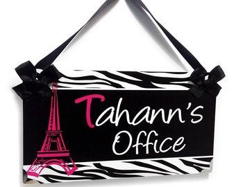 custom teacher hot pink paris eiffel tower zebra print classroom or office door sign - P302