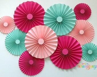 Paper Rosettes/ Fans - Set of 10 - Light Pink, Light Aqua, Fuchsia