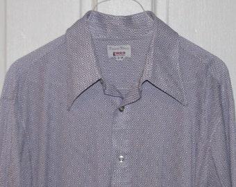 GEOMETRIC PRINT DISCO Button Down Shirt // 70's Enro Diamond Triangle Square Pruple White Long Sleeved Print Pointed Collar Size L 17/34