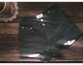 vintage high waisted denim jean shorts green S