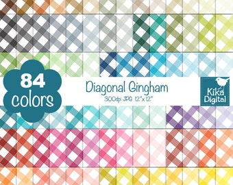 SALE Diagonal Gingham Digital Papers - Rainbow Scrapbook Papers - Huge Paper Pack- INSTANT Download