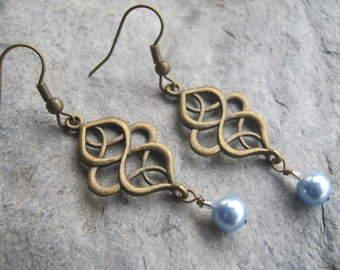 Personalized Pearl Earrings, Bridesmaid Wedding Earrings, Swarovski Pearl Earrings, Bronze Boho Earrings, Filigree, CHOOSE Your Color
