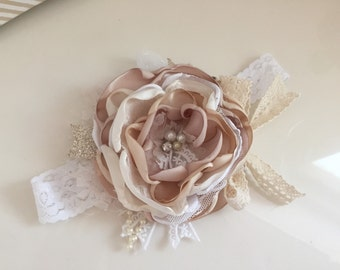 Baby Girl Headband- Baby Headband- Flower Girl Headband- Newborn Headband-Hair Bows-Headband-P