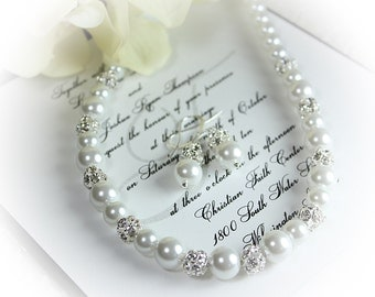 Bridal Gift Bridal Pearl Rhinestone Jewelry Set Pearl Rhinestone Necklace and Earrings Bridal Necklace, Wedding Jewelry, Bridesmaid Gift