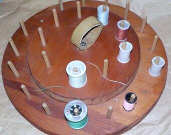 Vintage  Shaker Style Wood Thread  Carousel......1970's ... Grandma's Sewing Room