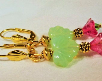 Earrings Handmade Lovely Austrian Pressed Green Glass Leaves and Pink Swirl Trumpet Flower and Crystal Accent Beads Garden Floral Exotic