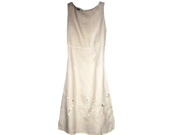 Vintage 1990s Designer JOHNNY WAS Sun Dress French Country Jackie O Ecru Linen Embroidery Summer Cottage Sleeveless Empire Waist Small