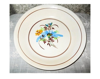 Vintage 1930s Mid Century Modern Italian French Country Cottage Bowl Faience Folk Pottery Pasta Table Hand Painted Blue Yellow Brown Floral