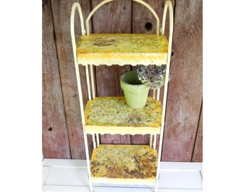 1920s French Country Rustic Garden Iron Metal Tin Collapsible Folding Vintage Shelves Plant Stand English Cottage Bistro Lamp Tea Table