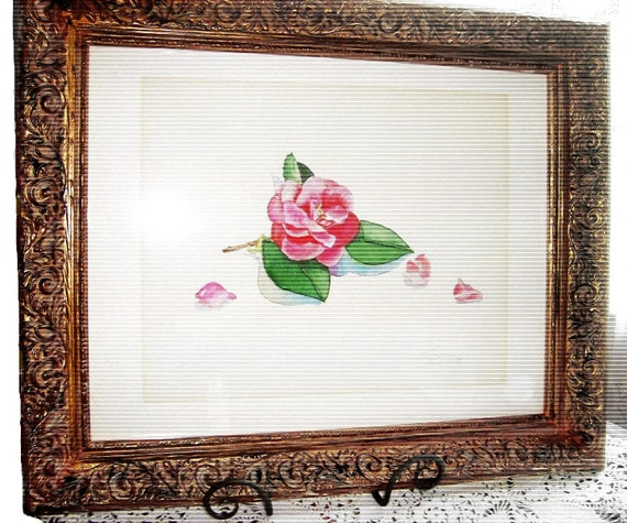 Victorian French Country Signed Thereasa Paxton Watercolor Original Painting Vintage 1988 Cottage Pink Rose Botanical Still Life Painting
