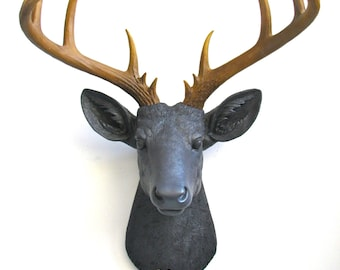 CHARCOAL w/ Natural-looking antlers XL Faux Taxidermy Deer Head wall mount wall hanging