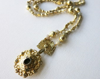 Vintage Gold-plated Silver Tamborin Necklace with Glass Reliquary or Relikaryo from the Philippines with New Labradorite Beads