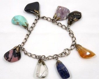 Sterling Chain Bracelet with Tumbled Agate Dangles