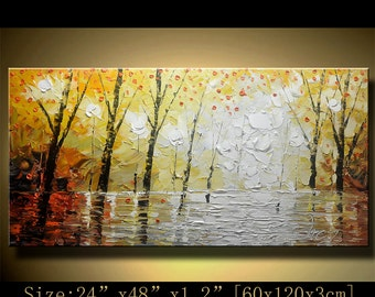 Abstract Wall Painting,,multi colored Modern Textured Painting  park  Landscape , Palette Knife Painting,on Canvas byChen  g087