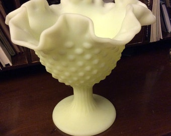 vintage Fenton art glass - STUNNING large rough lime satin FLUTED HOBNAIL Ruffled Comport milk glass ...