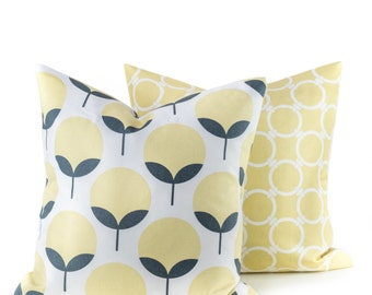 Decorative Throw Pillows Yellow Gray Pillow covers 20x20  Housewares printed fabric on front and back Throw Pillow Covers