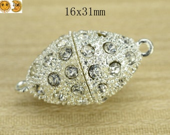 10 pcs magnetic clasp,metal clasp,rhinestone clasp,silver plated alloy with rhinestone,metal findings,connector bead,ball 16x31mm