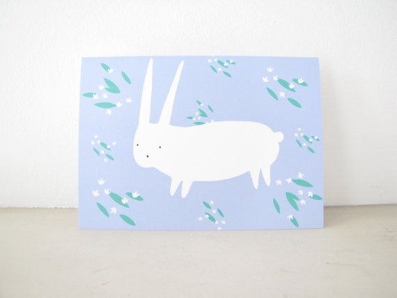Greeting Card any Occasion, Blank Notecard Stationery, blue floral bunny rabbit, thinking of you friend, baby shower, animal illustration