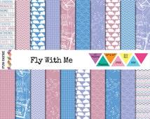 TRAVEL / DESTINATION Digital 12x12 PAPER Pack • Fly Pink, Blue, Purple, Passport, Clouds, Chevron • Instant Download • jpeg • rgb • 300 dpi