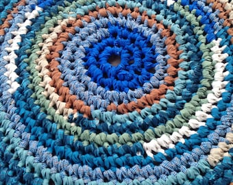"Niagara Rug Crochet 38"" Rag Area Rug Round Medium Washable Floor Handmade Kitchen Porch Country Primitive Homespun Teal White Lavender Blue"