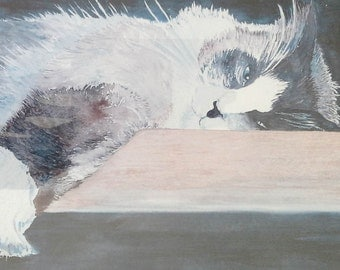 Holiday Sale: Painting, framed, signed and limited edition -cottage chic- cute kitty