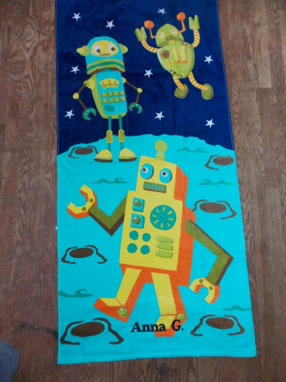 robots personalized beach towel gift for boy space beach towel