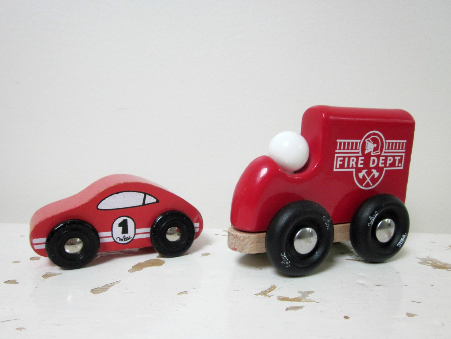 Small Toy Cars : Vintage french toy cars vilac wooden small by