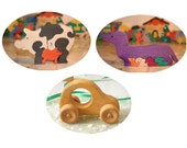 Sale SET of 2  Wooden Puzzles and Car toy for the special price. Handmade kids toy. Wood ecofriendly  for children Girls toy