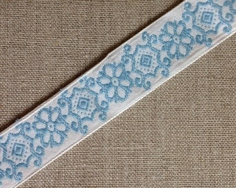 Vintage blue and white cotton trim, crafts, sewing, scrapbooking