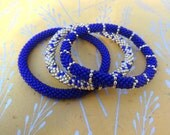 Set of Three Galvanized Gold, Silver Cobalt Blue Crocheted Beaded Bracelet, Handmade in Nepal, Seed Beads, Roll on