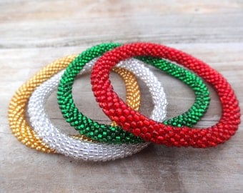 Sparkly Christmas Red, Green, Gold and Silver Handmade Bracelets Set, Seed Beads,Nepal,