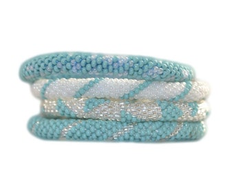 Turquoise Silver and Ivory White Beaded Bracelets Set, Roll on Your Wrist, BS57