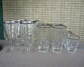 Vintage Mid Century Modern Silver Rim Glass Set, Retro Barware, Cocktail, Highball and Lowball Set
