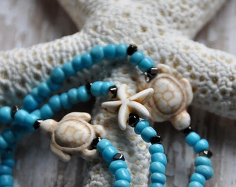 Azure Blue Sea Turtle Starfish Bead Bracelets Set of 3 by Bead Rustic Free Shipping