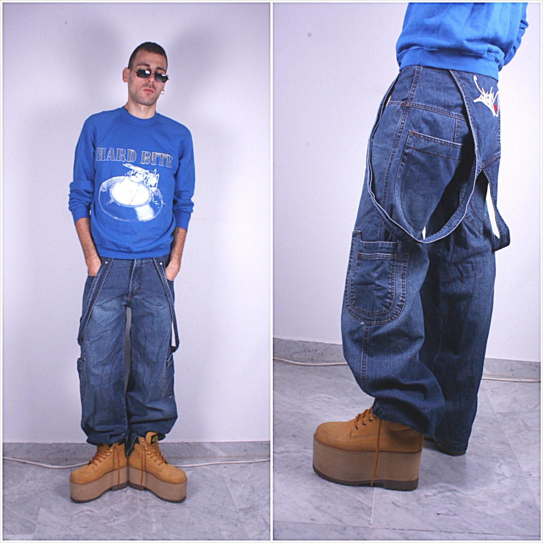 90s 00s Hip Hop Pants / Blue Denim Bib Overall Dungarees