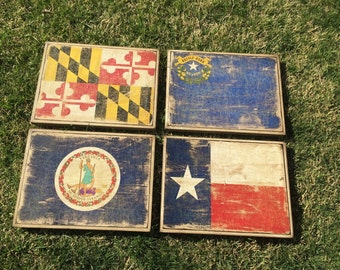 12x16 Wood Vintage State & Country Flag