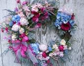 Large Spring Summer Wreath, Elegant Front Door Wreath, Designer Wreath, English Garden Wreath