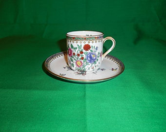One (1), Bone China, Demitasse Cup & Saucer, from Spode Copeland China, in the Lowestoft Flowers C 1703 Pattern.