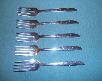"""Five (5), Stainless, 6"""" Salad Forks, from Acson's Flatware, in the Snowflake ACF-3 Pattern."""