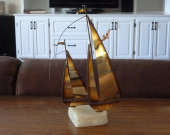 Vintage Brass Sailboat, Curtis Jere, Signed, 1970's, 1980's, Nautical, Art, Metal Sculpture, Beach House, Home Decor, Sailboats, Metal